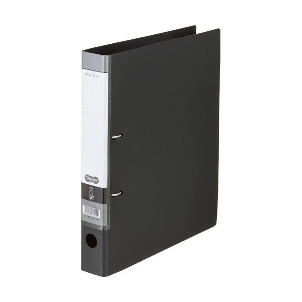 (まとめ)TANOSEE DリングファイルA4タテ 2穴 280枚収容 背幅45mm ダークグレー 1冊 【×20セット】