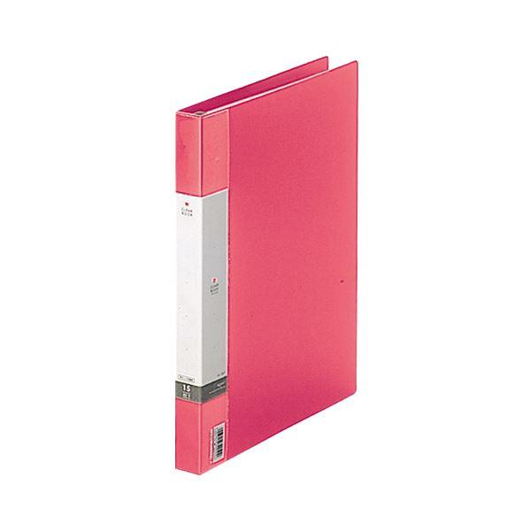 (まとめ) リヒトラブ リクエスト クリヤーブック(クリアブック)(ポケット交換タイプ) A4タテ 30穴 15ポケット付属 背幅25mm 赤 G3801-3 1冊 【×10セット】