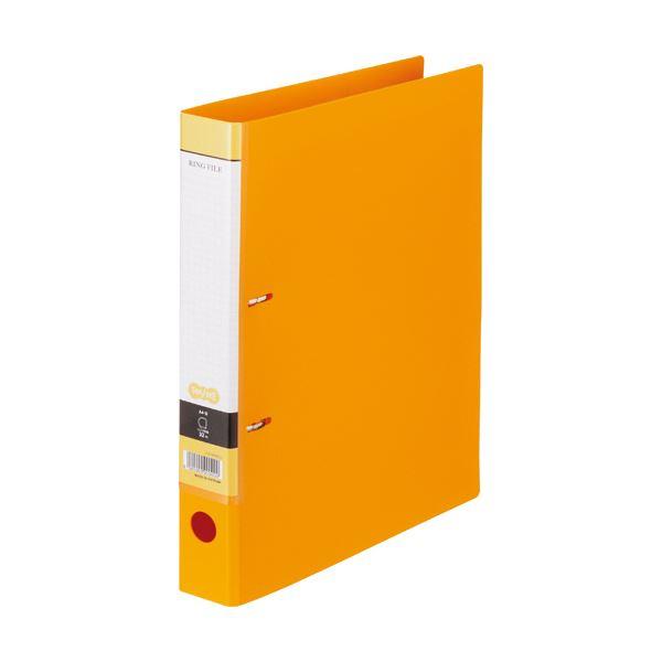 (まとめ)TANOSEE DリングファイルA4タテ 2穴 280枚収容 背幅45mm オレンジ 1冊 【×20セット】
