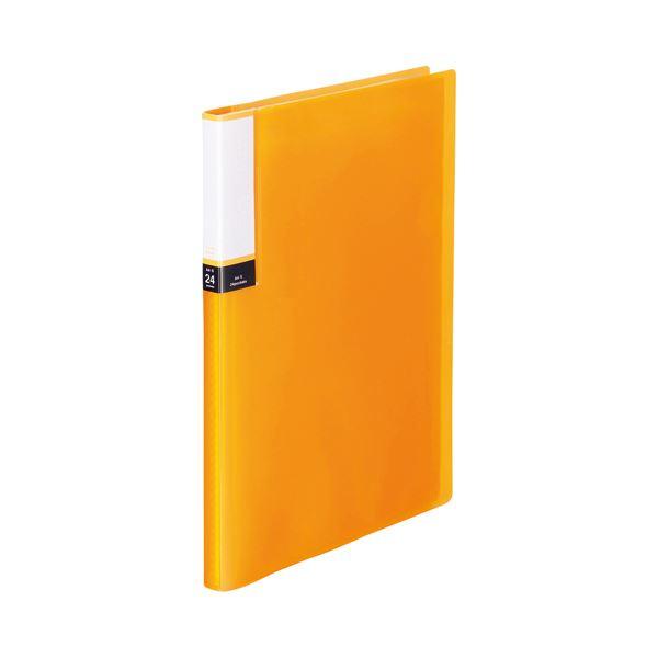 (まとめ) TANOSEE クリアブック(透明表紙) A4タテ 24ポケット 背幅15mm オレンジ 1セット(10冊) 【×10セット】