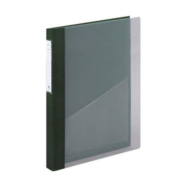 (まとめ)リヒトラブ カルテブック(クリヤー)A4タテ 2穴 背幅28mm グリーン HB416-3 1冊【×5セット】 緑