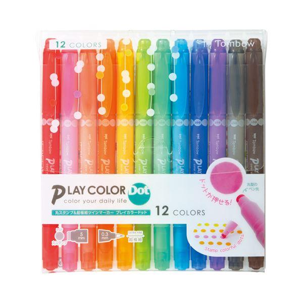 (まとめ)トンボ鉛筆 プレイカラードット 12色セット GCE-011【×5セット】