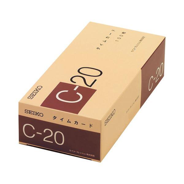 (まとめ) セイコープレシジョン セイコー用タイムカード 20日締 日付印字あり C-20カ-ド 1パック(100枚) 【×10セット】