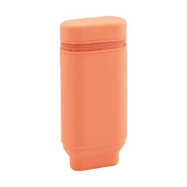 (まとめ) リヒトラブスタンドペンケース(オーバルタイプ) オレンジ A-7694-4 1個 【×10セット】