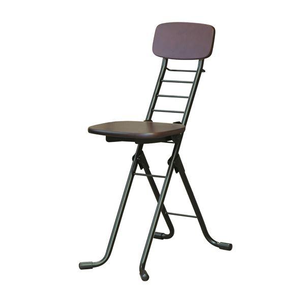 折りたたみ椅子 (イス チェア) 【2脚セット ダークブラウン×ブラック】 幅35cm 日本製 国産 高さ6段調節 金属 スチール パイプ 『リリィチェア (イス 椅子) M』 黒 茶
