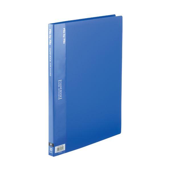 (まとめ) ビュートン クリヤーブック(クリアブック) A4タテ 20ポケット 背幅17mm ブルー BCB-A4-20B 1冊 【×30セット】 青