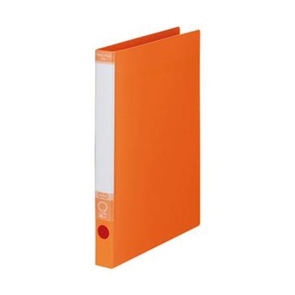 (まとめ)TANOSEE ワンタッチ開閉Oリングファイル A4タテ 2穴 170枚収容 背幅30mm オレンジ 1セット(10冊)【×5セット】