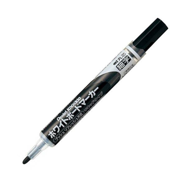 (まとめ) ぺんてる ホワイトボードマーカー ノックル 細字丸芯 黒 EMWLS-A 1本 【×50セット】 白