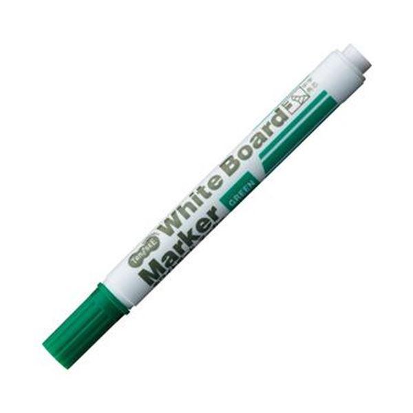 (まとめ)TANOSEE ホワイトボードマーカー中字 角芯 緑 1セット(12本)【×20セット】 白