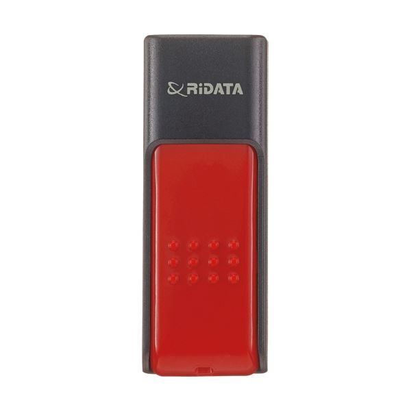 インデックスラベル付きで管理も楽々。 (まとめ) RiDATA ラベル付USBメモリー32GB ブラック/レッド RDA-ID50U032GBK/RD 1個 【×10セット】 黒 赤