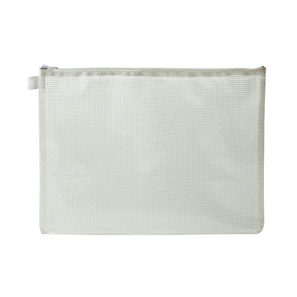 (まとめ) TANOSEE メッシュケース A4 タテ260×ヨコ345mm 白 1枚 【×30セット】