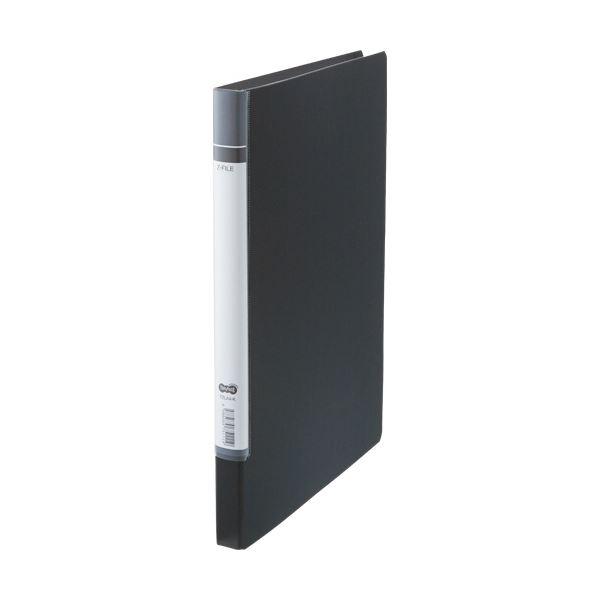 (まとめ) TANOSEE Zファイル(貼り表紙)ロングタイプ 黒 1セット(10冊) 【×5セット】