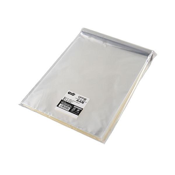 (まとめ) TANOSEE OPP袋 フタ・テープ付A4用 225×310+40mm 1パック(500枚) 【×10セット】