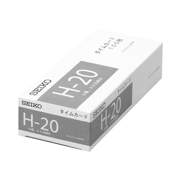 (まとめ) セイコープレシジョン セイコー用片面タイムカード 20日締 6欄印字 CA-H20 1パック(100枚) 【×10セット】