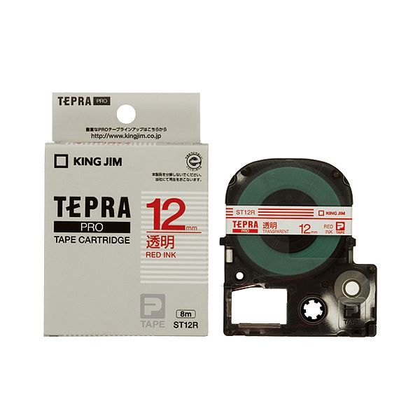 (まとめ) キングジム テプラ PRO テープカートリッジ 12mm 透明/赤文字 ST12R 1個 【×10セット】