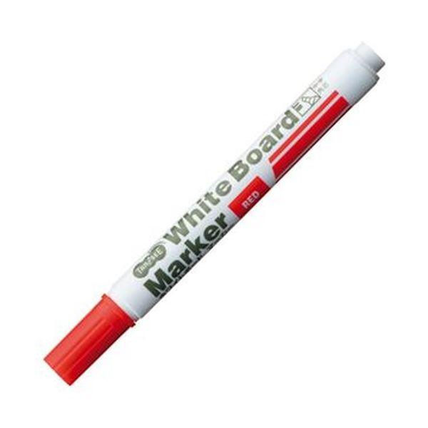 (まとめ)TANOSEE ホワイトボードマーカー中字 角芯 赤 1セット(12本)【×20セット】 白