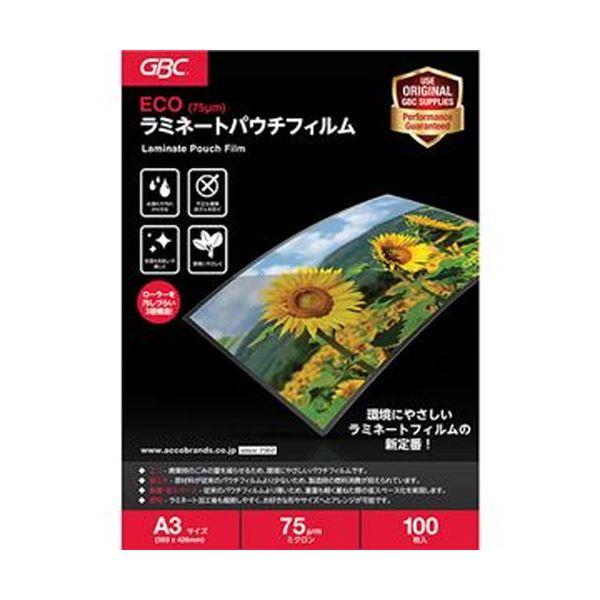 (まとめ)アコ・ブランズ ECOパウチフィルムA3 75μ YV075A3Z 1パック(100枚)【×5セット】