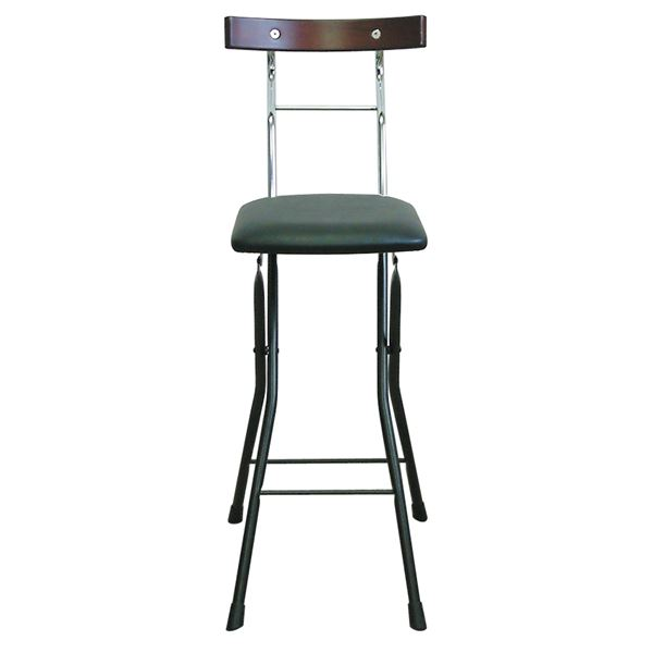 折りたたみ椅子 (イス チェア) 【ブラック×ブラック+ダークブラウン】 幅34cm 日本製 国産 金属 スチール パイプ 『ロイドチェア (イス 椅子) ハイ』 黒 茶
