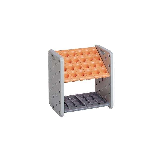 モダン 傘立て 【K24 オレンジ 24本立】 幅500mm 金属 スチール パイプ 受皿付き テラモト 『アーバンピット』 〔会社 店舗 玄関〕