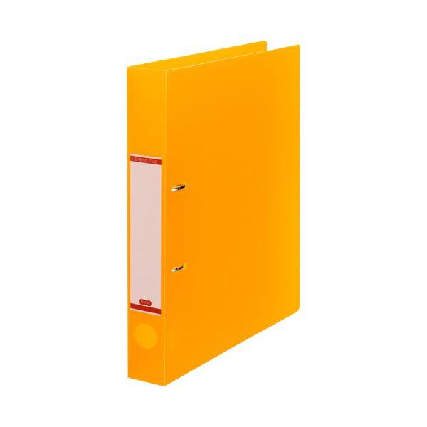 (まとめ)TANOSEEDリングファイル(半透明表紙) A4タテ 2穴 250枚収容 背幅43mm オレンジ 1セット(10冊) 【×3セット】