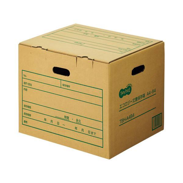 (まとめ) TANOSEE 文書保存箱 A4・B4用 内寸:W395×D326×H304mm 1パック(10個) 【×5セット】