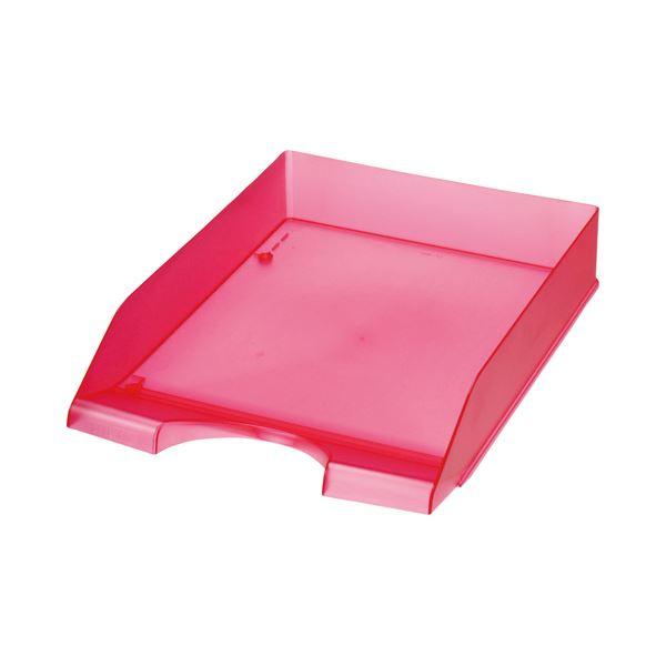 (まとめ) クルーズ スケルトンカラーレタートレーA4タテ レッド LT-500RE 1セット(3個) 【×5セット】 赤