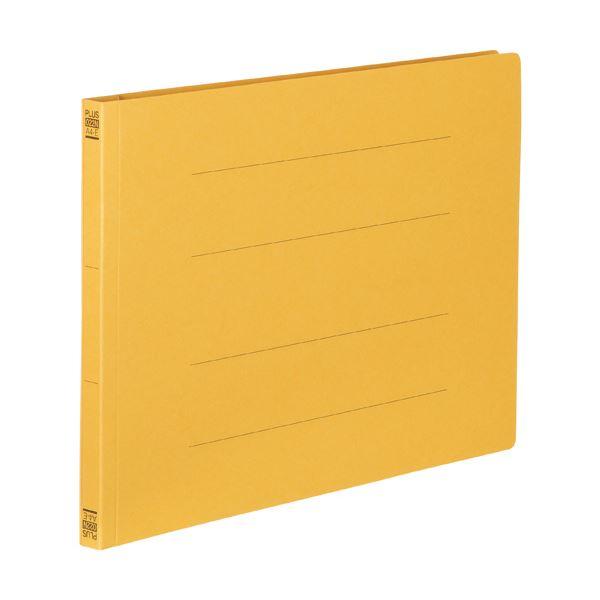 (まとめ)プラス フラットファイル 樹脂とじ具A4ヨコ 150枚収容 背幅18mm イエロー No.022N 1セット(10冊) 【×10セット】