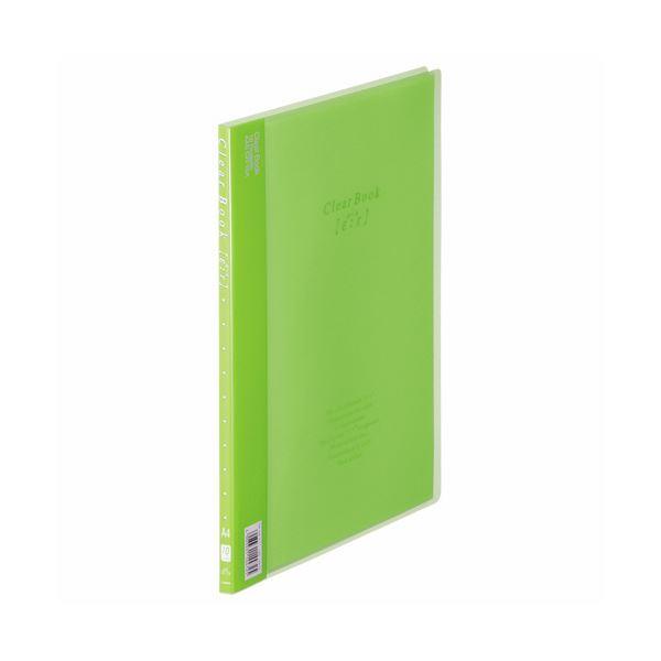 (まとめ) ライオン事務器 クリアーブック(エール)A4タテ 10ポケット 背幅8mm グリーン CR-10A 1冊 【×30セット】 緑
