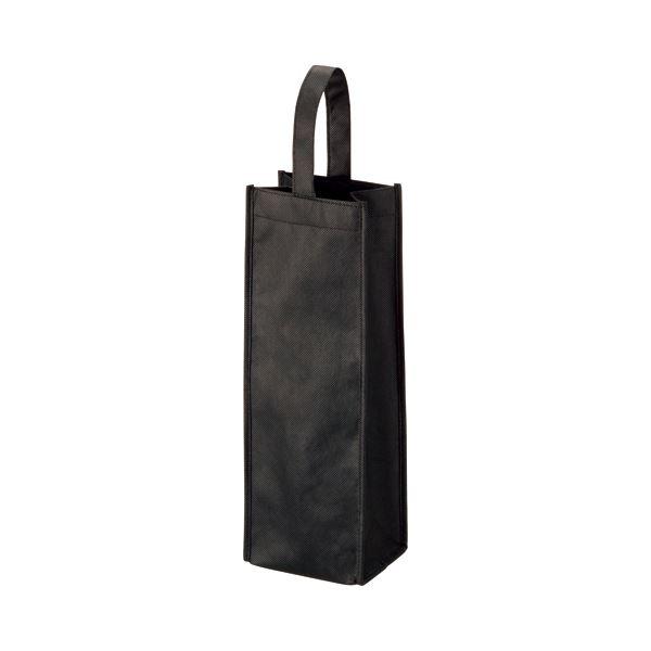 (まとめ) TANOSEE 不織布ワイン袋 ヨコ130×タテ370×マチ幅85mm ブラック 1パック(10枚) 【×10セット】 黒