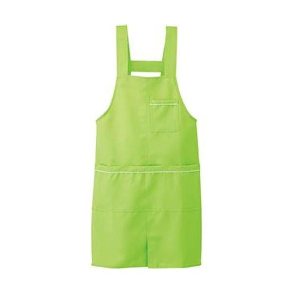 (まとめ)アイトス パイピングエプロンストレッチギャバ ライムグリーン フリーサイズ 861370-135-F 1枚【×10セット】 緑