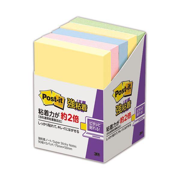 (まとめ) 3M ポスト・イット 強粘着 ノート75×50mm パステルカラー 4色混色 656-5SSAP 1パック(5冊) 【×10セット】