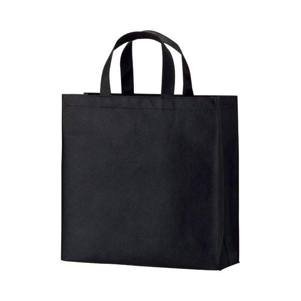(まとめ) TANOSEE 不織布バッグ 小 ヨコ320×タテ330×マチ幅110mm ブラック 1パック(10枚) 【×10セット】 黒