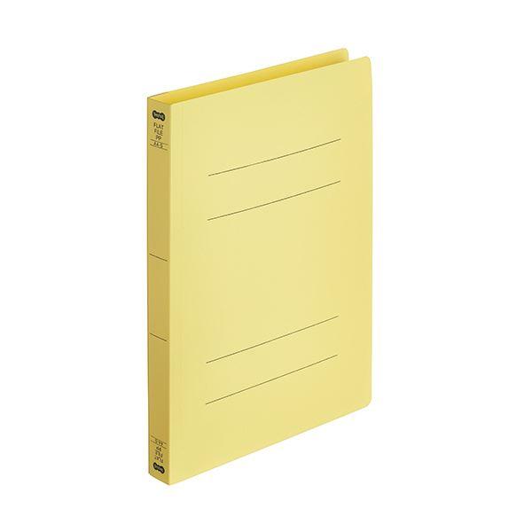 (まとめ)TANOSEEフラットファイル厚とじ(PP) A4タテ 250枚収容 背幅28mm イエロー 1パック(5冊) 【×10セット】