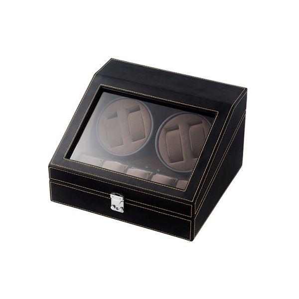 エスピーアイ 合皮 フェイクレザー 4連ワインディングマシーン ブラック/ブラウン SP43014LBK 黒 茶