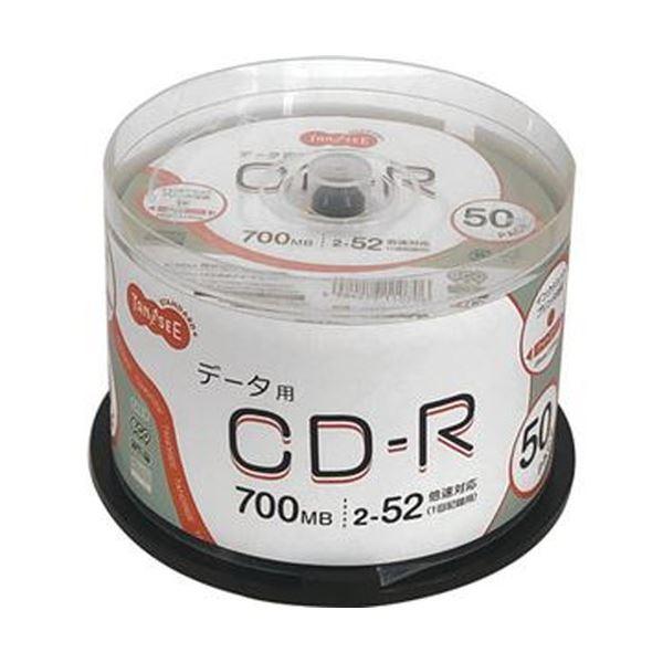 (まとめ)TANOSEE データ用CD-R700MB 52倍速 ホワイトワイドプリンタブル スピンドルケース 1パック(50枚)【×10セット】 白