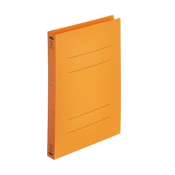 (まとめ)TANOSEEフラットファイル厚とじ(PP) A4タテ 250枚収容 背幅28mm オレンジ 1パック(5冊) 【×10セット】