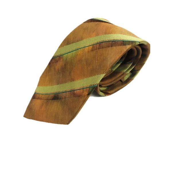 西陣手縫い仕立て ほぐし染め シルク100%ネクタイ ブラウン&ストライプ 茶