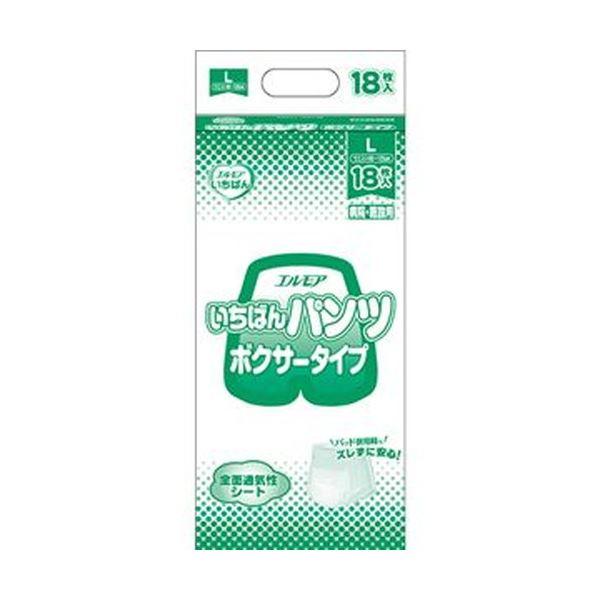 (まとめ)カミ商事 エルモア いちばん パンツボクサータイプ L 1パック(18枚)【×10セット】