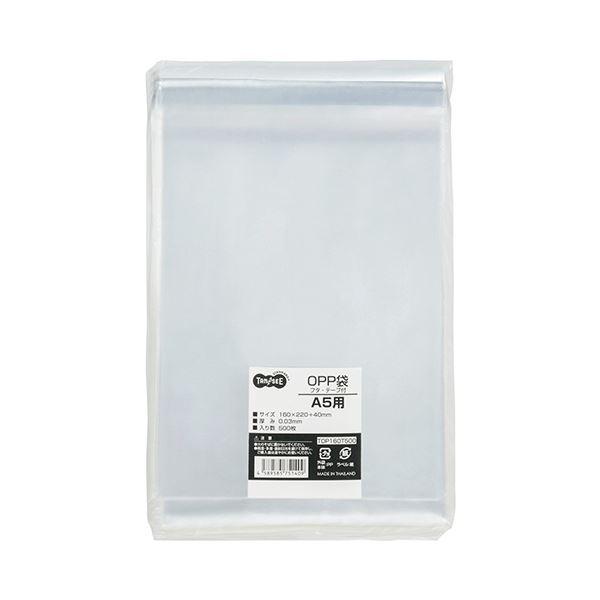 (まとめ) TANOSEE OPP袋 フタ・テープ付A5用 160×220+40mm 1パック(500枚) 【×5セット】