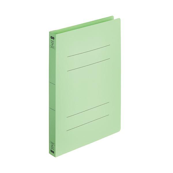 (まとめ)TANOSEEフラットファイル厚とじ(PP) A4タテ 250枚収容 背幅28mm グリーン 1パック(5冊) 【×10セット】
