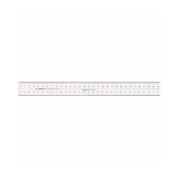 (まとめ) ライオン事務器 アクリル直線定規30cm No.10 1セット(10本) 【×10セット】