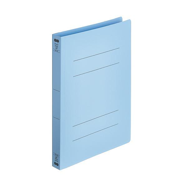 (まとめ)TANOSEEフラットファイル厚とじ(PP) A4タテ 250枚収容 背幅28mm ブルー 1パック(5冊) 【×10セット】