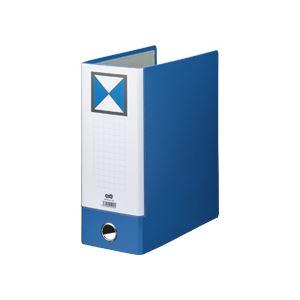 (まとめ) TANOSEE 片開きパイプ式ファイルKJ(指かけ穴付) A4タテ 1000枚収容 背幅116mm 青 1冊 【×10セット】