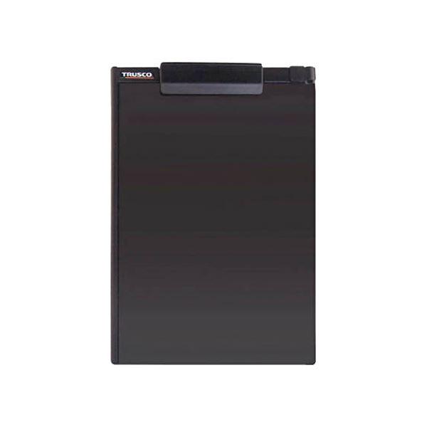 (まとめ)TRUSCOペンホルダー付クリップボード(マグネット付) A4縦 黒 TCBM-A4E-BK 1個 【×10セット】