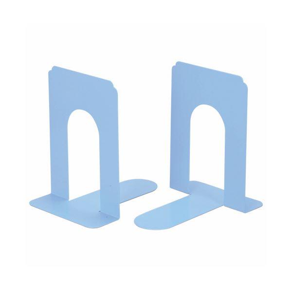 (まとめ) ライオン事務器 ブックエンド T型 大ライトブルー NO.7 1組(2枚) 【×10セット】 青