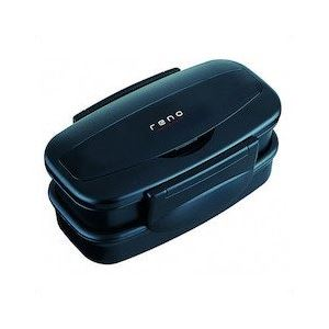 (まとめ) 弁当箱/ランチボックス 【2段 830ml】 箸付き 入れ子式 ブラック 『レノ』 【40個セット】 黒