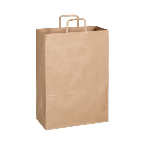 TANOSEE 紙手提袋 平紐 特大ヨコ340×タテ480×マチ幅170mm 茶無地 1セット(300枚:50枚×6パック)