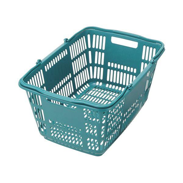 (まとめ)スーパーメイト ショッピングバスケット33L ブルーグリーン CB-33EBG 1個【×10セット】 青 緑