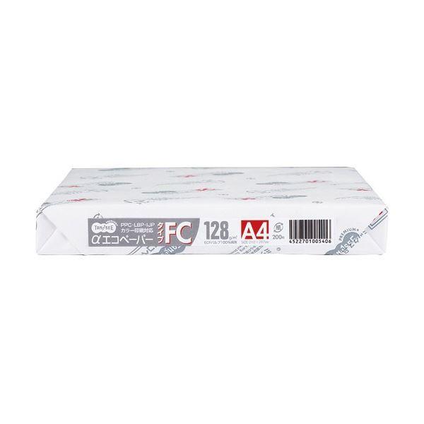白色度・平滑度にこだわった、カラー印刷対応の高品質ペーパー (まとめ)TANOSEE αエコペーパータイプFC B4 特厚口 128g 1セット(800枚:200枚×4冊)【×3セット】