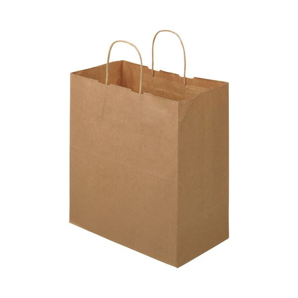 TANOSEE 紙手提袋 丸紐マチ広・中 ヨコ320×タテ350×マチ幅180mm 茶無地 1セット(300枚:50枚×6パック)